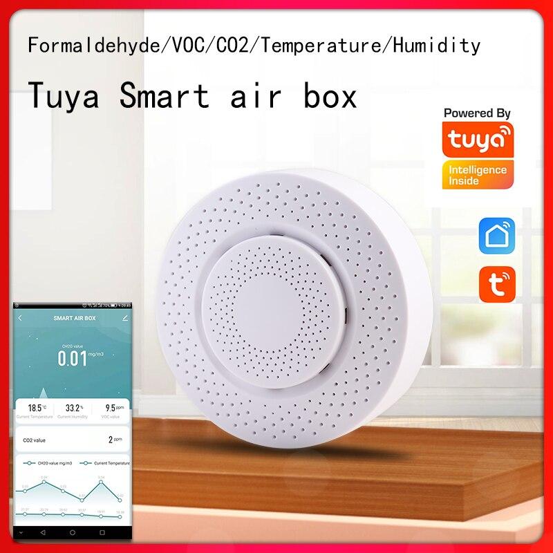 صندوق الهواء الذكي Tuya يكتشف الفورمالديهايد الداخلي والغاز السام voc و CO2 ودرجة الحرارة والرطوبة و 5 مؤشرات أخرى في الوقت الفعلي