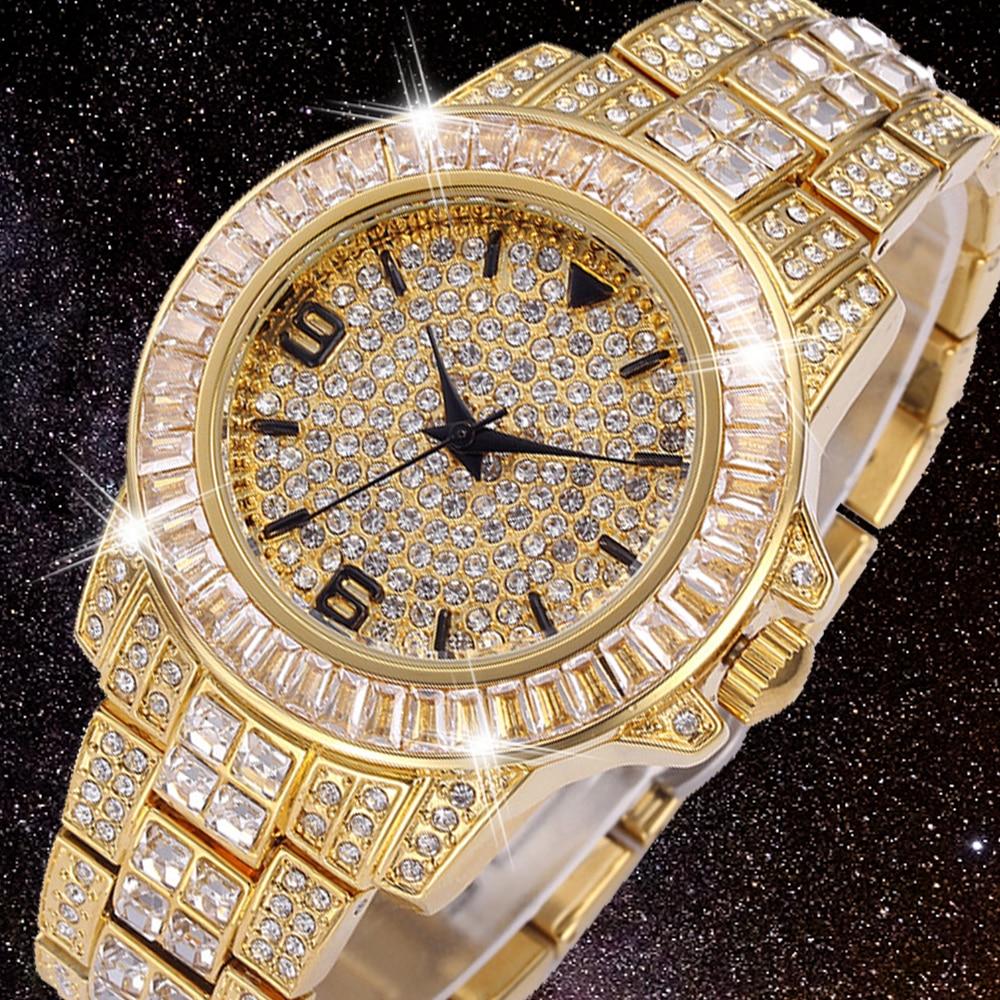 18K الذهب الرجال ساعة دور مثلج التدريجي رجالي ساعات كوارتز الهيب هوب بلينغ كامل الماس ساعة ساعة الفولاذ المقاوم للصدأ Reloj Hombre 2021
