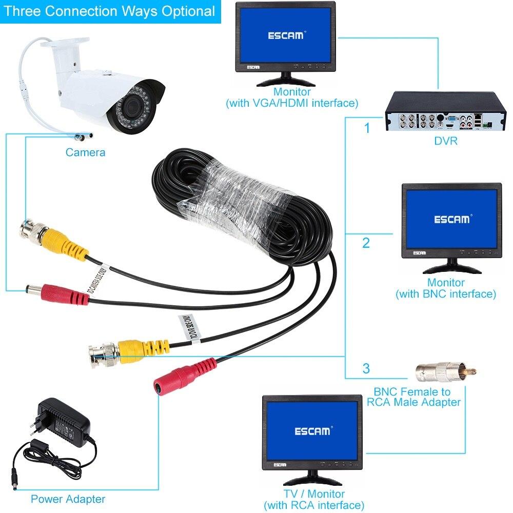 ESCAM 10~60M CCTV DVR Camera Recorder system Video Cable DC Power Security Surveillance BNC Cable enlarge