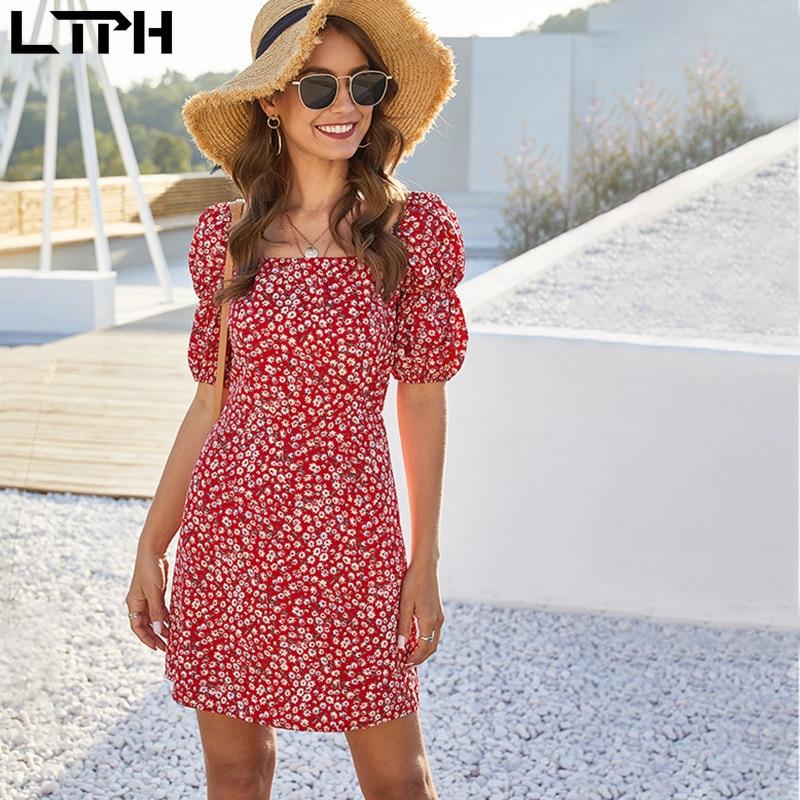 LTPH Verano de 2020 gran oferta nuevo floral mujer vestido vintage Collar cuadrado linterna mangas cremalleras invisibles vestidos Casual