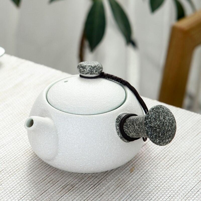 Tetera de cerámica individual con filtro chino para copo de nieve, agarradera...