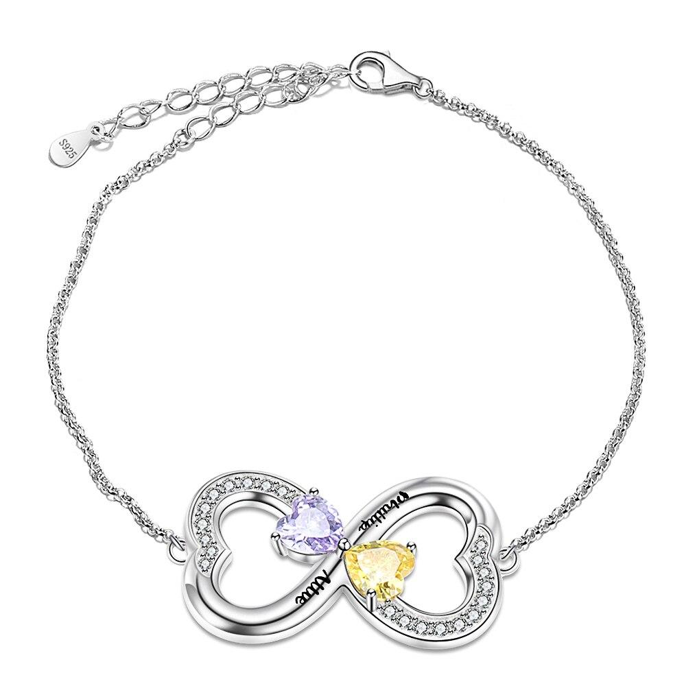 Strollgirl 925 joyería plata de ley brazalete con piedra natal símbolo infinito grabado nombre infinito amor pulsera para mujer San Valentín