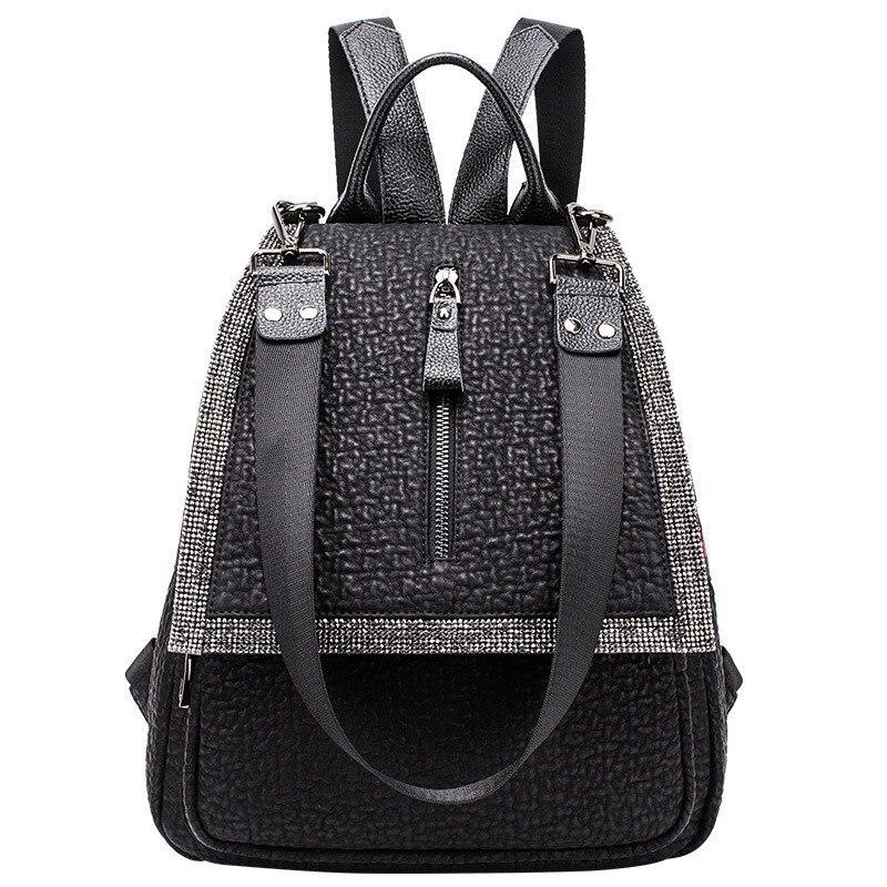 Bolsos De Mujer 2020 nueva mochila con diamantes modelos de moda de cuero de moda Bolsos De Mujer mochila de tres usos
