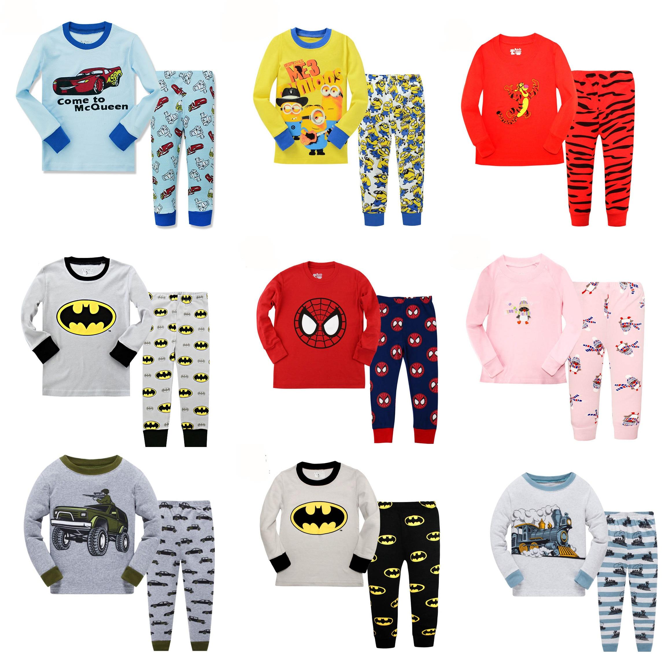 Floret LULU/Детские пижамные комплекты для мальчиков с изображением Человека-паука, хлопковая детская пижама с машинками для маленьких детей, домашняя одежда для девочек на Рождество