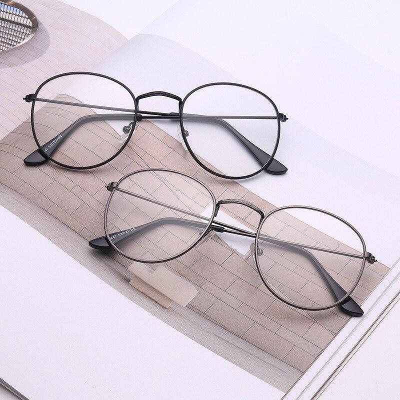 Стеклянные оправы, металлические круглые стеклянные оправы, прозрачные линзы, очки, черные очки, большие металлические оправы для очков в с...
