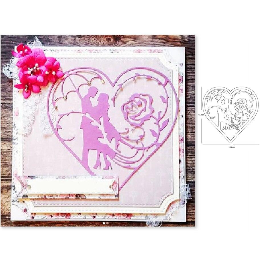 Troqueles de corte de metal, molde para decoración con marco del amante del corazón, tarjeta de papel de álbum de recortes cuchilla para manualidades plantillas para perforar con cuchillas