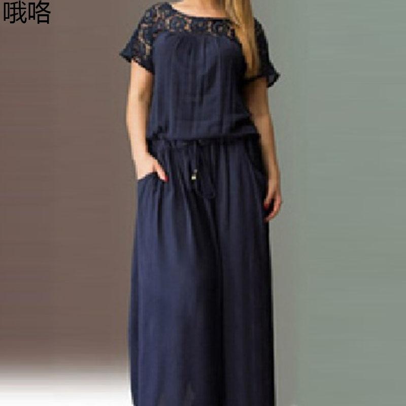 Vintage Short Sleeve Lace Summer Dress Women Plus Size 3XL 4XL 5XL Maxi Party Dress 2020 New Arrival Summer Female Long Dress