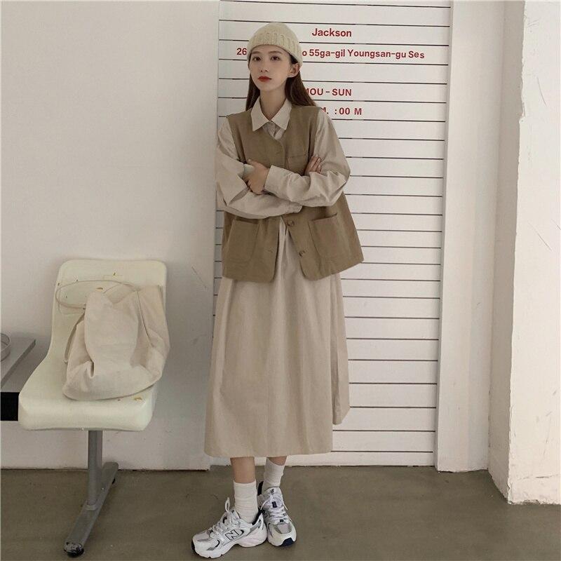 Женский костюм из двух предметов в студенческом стиле, весна-осень 2021