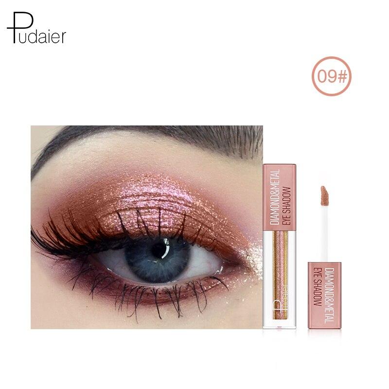 Pudaier metal líquido brilho sombra maquiagem líquido shimmer sombra de olho metais compõem highlighter creme cosméticos