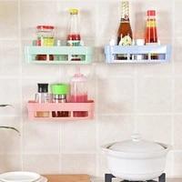 2 pcs wall mounted storage rack drain shelf bathroom organizer shower holder seamless adhesive storage shelves home storage
