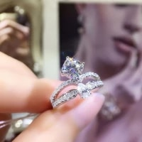 luxury silver color crown ring princess cut cubic zirconia wedding ring bridal jewelry engagement party eternal rings gifts