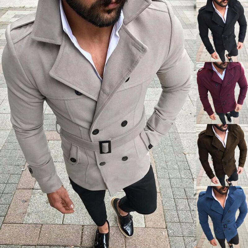 Hirigin Men Winter Wool Trench Coat Reefer Jacket Solid Double Breasted Peacoat Formal Overcoat Parka