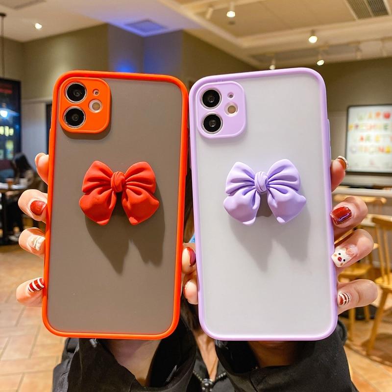 3D Bowknot Camera Protection Bumper Phone Case For Huawei Nova 6 7 8 SE 7i 5T 3i 2i 4 5 5i Pro Enjoy 9 10 20 Plus 10S Back Cover