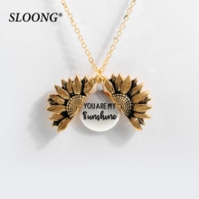 2019 neue Frauen Gold Halskette Sie sind mein sonnenschein Offene Medaillon Sunflower Anhänger Halskette Männer Geschenke Kostenloser Dropshipping