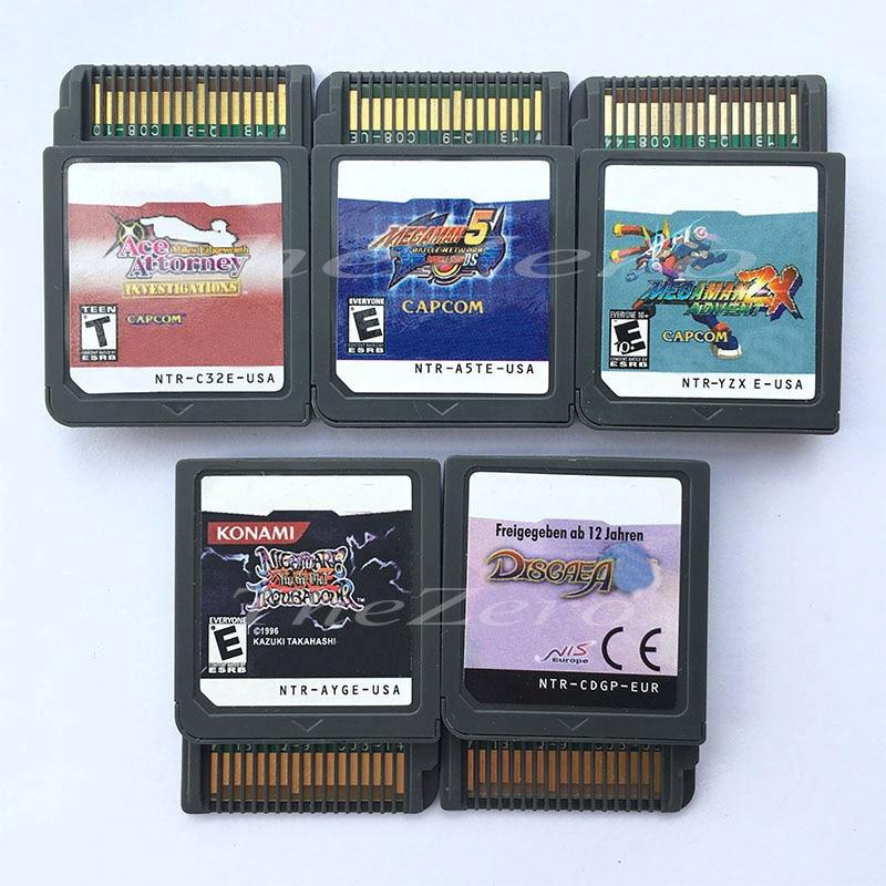 ¡Ace Attorney Mega Man 5 MegaMan ZX Adv yu-gi-oh! Cerca Disgaea, Cartucho para videojuegos, tarjeta de consola para consola DS3DS2DS