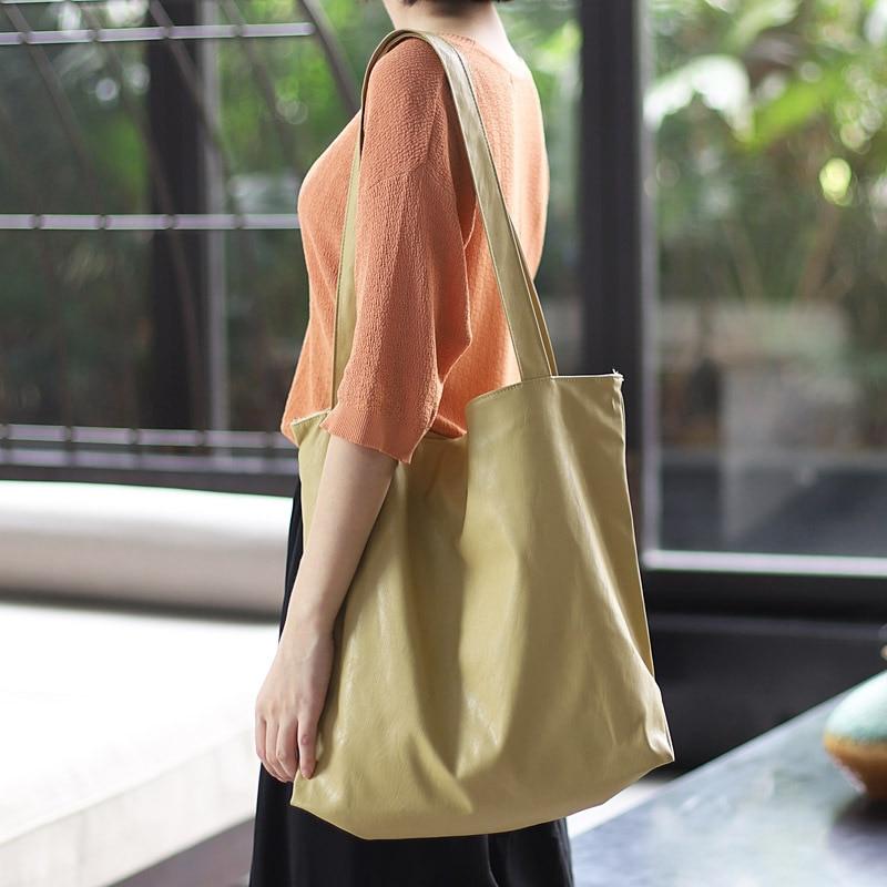 Корейская легкая мягкая кожаная сумка через плечо, простая повседневная сумка большой вместимости, универсальная модная однотонная женская сумка
