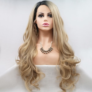 Blonde 613 Dark Roots Color Long Body Wave Hair Synthetic Lace Front Wigs Cosplay Daily Hair Lace Frontal Wigs For Women Girl