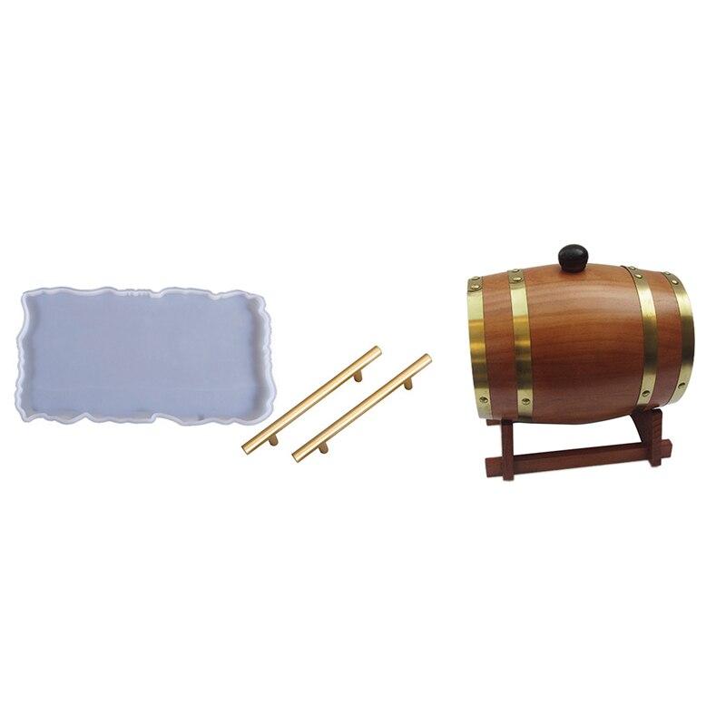 AFBC 3L خشبية خمر برميل خشبي النبيذ الأخشاب و سيليكون الجيود العقيق قالب صينية مع 2 قطعة مقابض معدنية