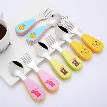 Dessin animé en acier inoxydable cuillère fourchette ensemble anti-dérapant poignée résistant à la chaleur sécurité bébé formation cuillères enfants vaisselle ustensiles