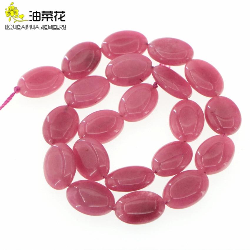 Piedra Natural 13x18mm Rosa Jades Oval Diy accesorios de abalorios sueltos para mujer regalo collar pulsera moda fabricación de joyería