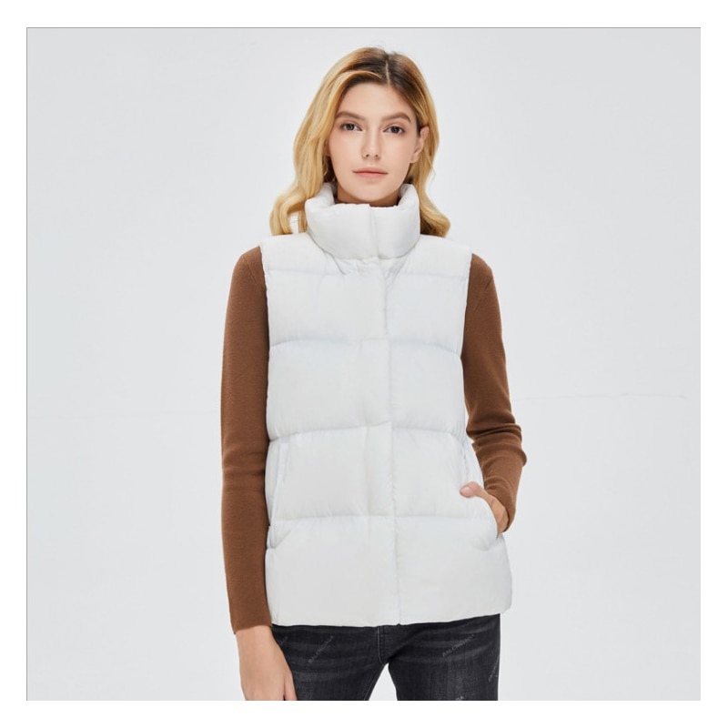 Down jacket women's vest for fall/winter 2021 short stand collar Korean plus size casual white duck down vest, comfortable