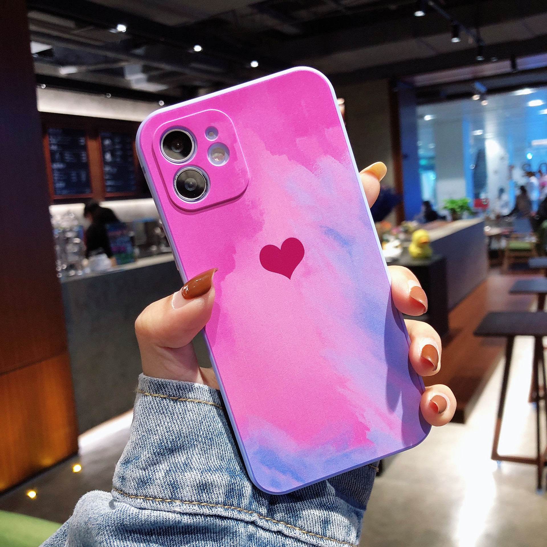 Gradient Watercolor Love Heart Phone Case For iPhone 11 Pro Max 12 Mini X XS XR 8 7 Plus SE 2020 Shockproof Soft Silicone Cover