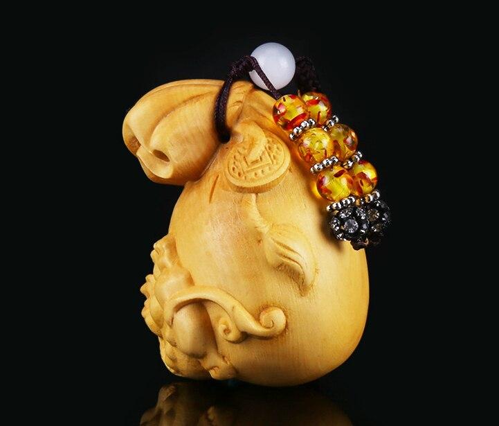 Caja china de 2,4 pulgadas, Pixiu Pi Xiu de madera tallada a mano, bolsa de La Fortuna, colgante pequeño de la suerte