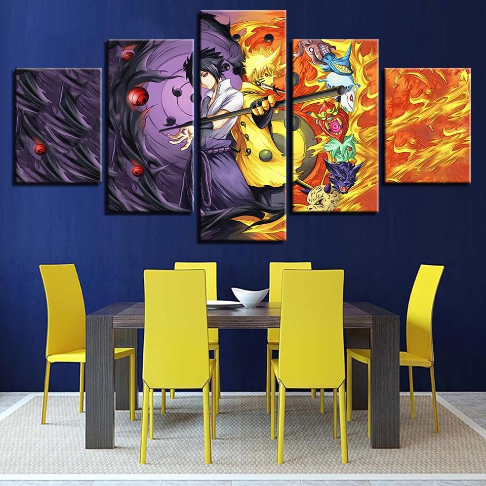 5 paneles película Naruto marco artístico cuadros Modular pintura impresa lienzo afiche para pared del hogar Decoración HD sala de estar moderna