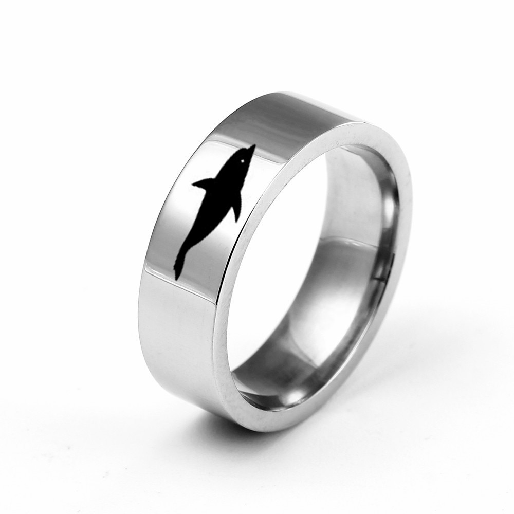 MANGOSKY 6MM Titanium Band Stainless Steel Solid Ring Dolphine Ring for Men and Women