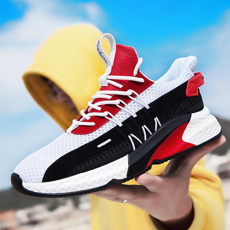 تنفس الرجال أحذية رياضية خفيفة الوزن المشي تنس رياضة الجري أحذية رياضية الرجال الموضة مزيج اللون الدانتيل متابعة الأحذية
