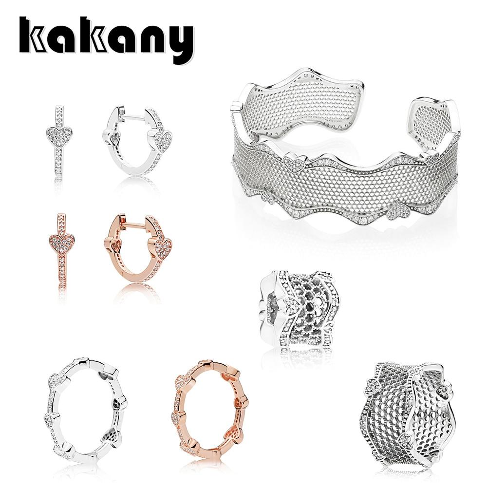 Kakany nouveau classique rétro or Rose brillant Zircon boucles doreilles Pavé en forme de coeur anneau de dentelle de haute qualité bijoux de mode livraison gratuite