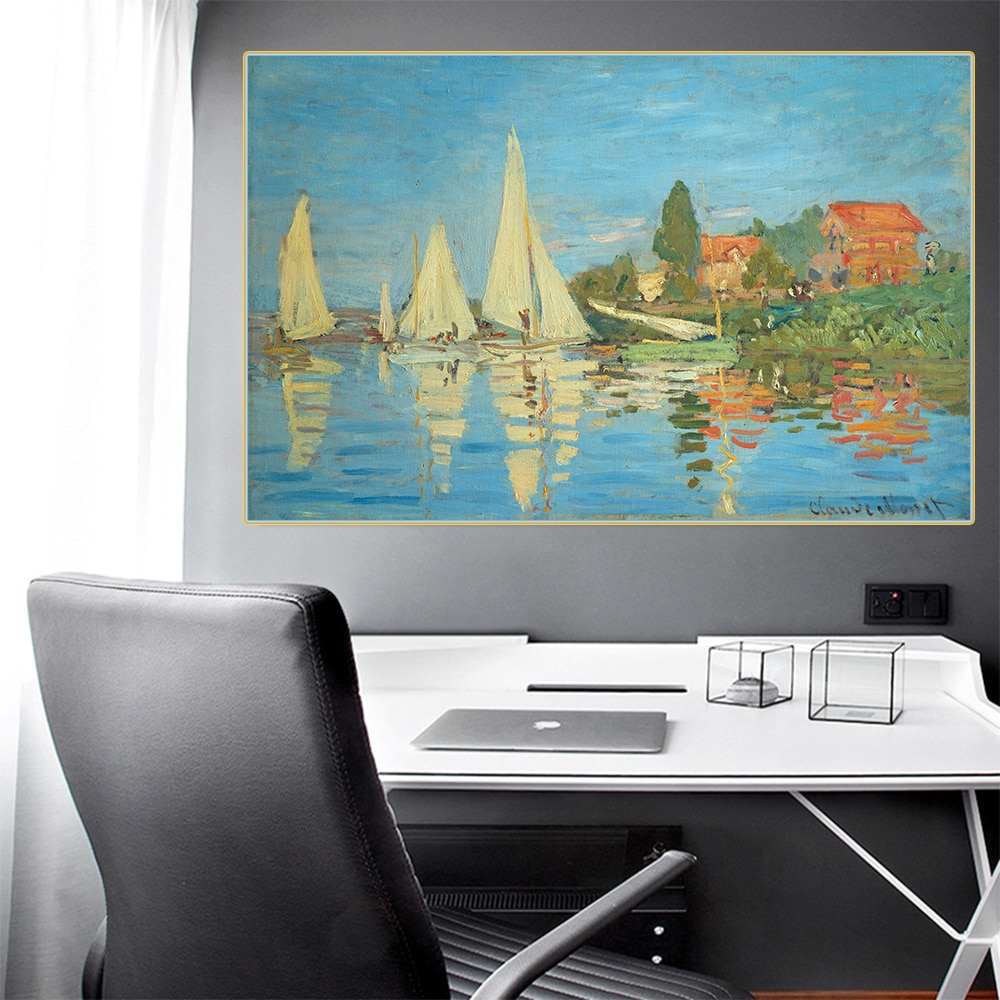 Citon Claude Monet regregatta en Argenteuil 》 lienzo pintura al óleo imagen de Arte de fama mundial imagen para decoración de pared decoración moderna del hogar