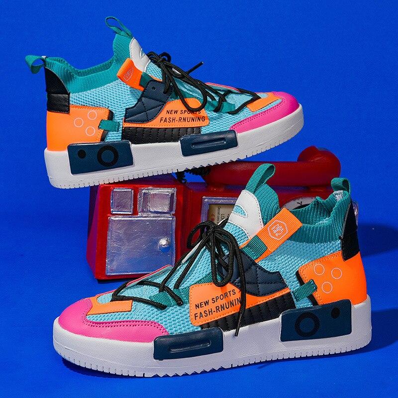 Фото - Кроссовки-носки мужские сетчатые, повседневные удобные высокие кеды, цветные носки, кроссовки в стиле хип-хоп, летняя уличная одежда drunknmunky высокие кеды и кроссовки