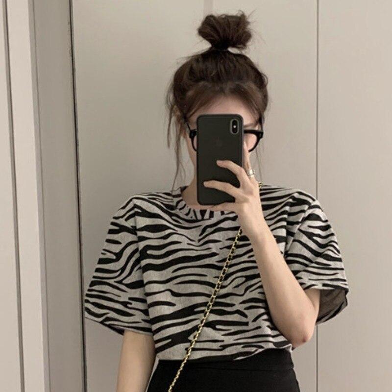Zebra Print Short-Sleeved T-shirt Female Ins Popular Net Red Design Loose Korean Style Super Popular