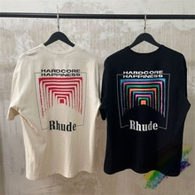 Oversize Rhude BOX PERSPECTIVE T-shirt Men Women Vintage 1:1 High Quality RHUDE Color Logo Print Tops Tees