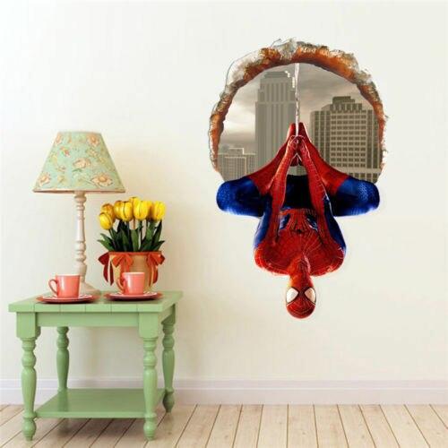 Calcomanías de decoración 3D Spider-man decoración de habitación de niños Superman Spiderman pegatinas de pared gigante adhesivo para pared de habitación de niños