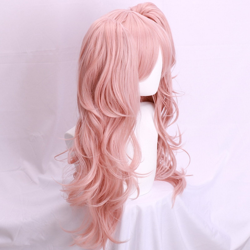 Takerlam Dangan Ronpa Danganronpa Enoshima Junko Wig Long Wavy Hair Halloween Costume Wig Ponytails Free Hairclip