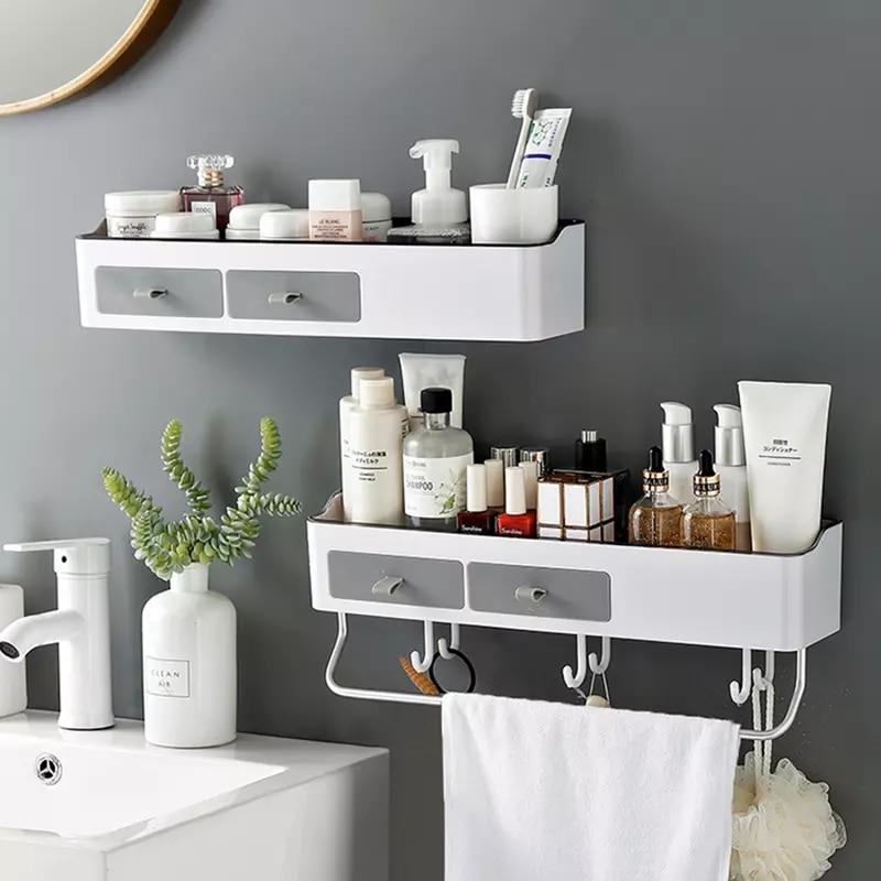 Punch-free Bathroom Organizer Rack Shampoo Cosmetic Storage Rack Bath kitchen Towel Holder Household Items Bathroom Accessories