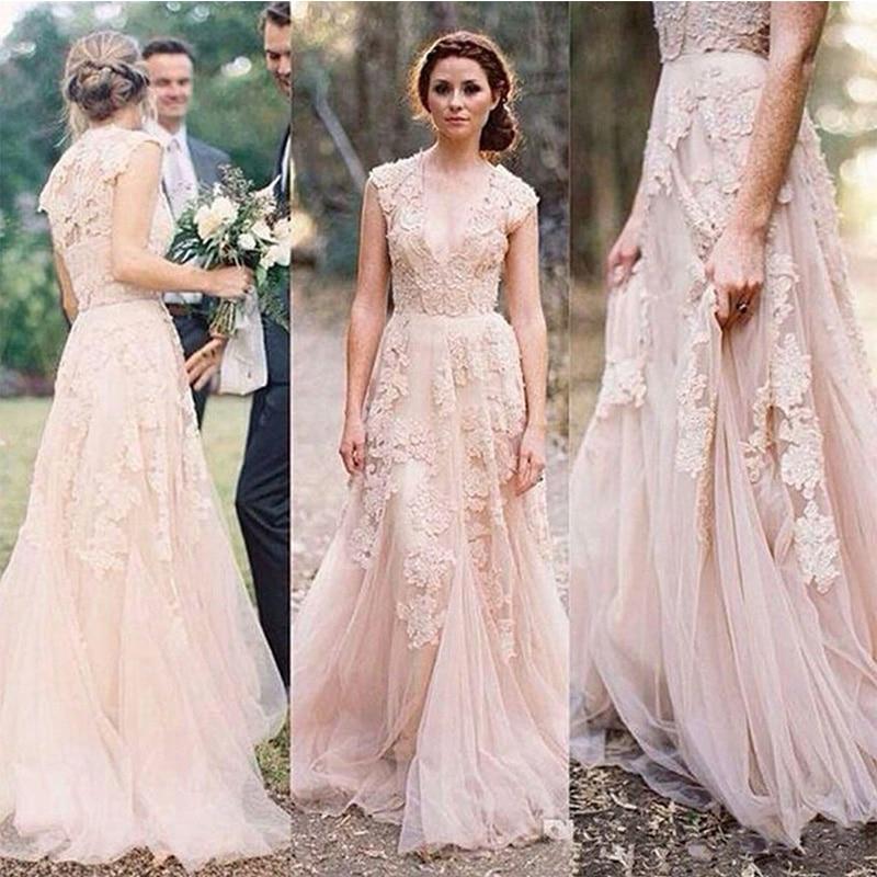 Недорогие кружевные свадебные платья а-силуэта цвета шампанского с V-образным вырезом, свадебные платья, новый дизайн