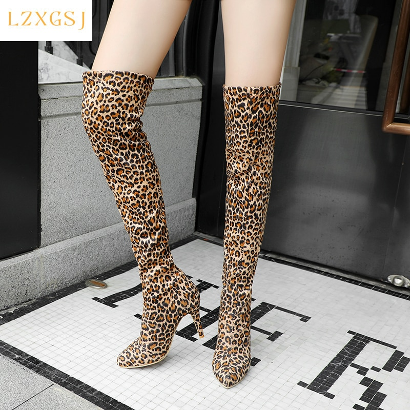 Sexy Women's High Boots Pointed Toe Slip On Boots Femme Woman Shoes Heels Spring And Autumn Thigh Female Women Shoes Designer