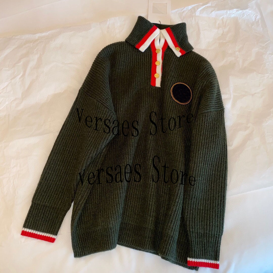 2021 luxury design badge fashion simple women's long sleeve Knitted Top temperament versatile loose high neck sweater cardigan enlarge