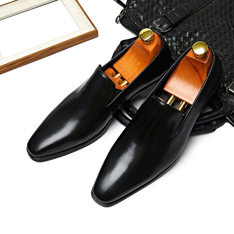 Mens Fashion Casual Shoes Dress Genuine Leather Pointed Toe Slip On Formal Wedding Business Oxford Shoes For Men G198