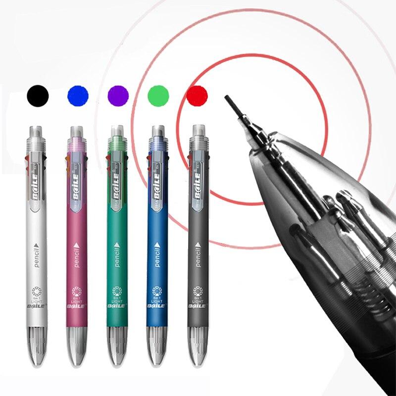 AliExpress - 6 In 1 Multicolor Ballpoint Pen Multifunction Pen Contain 5 Color Ball Pen & 1  Automatic Pencil Top Eraser Office School Supply