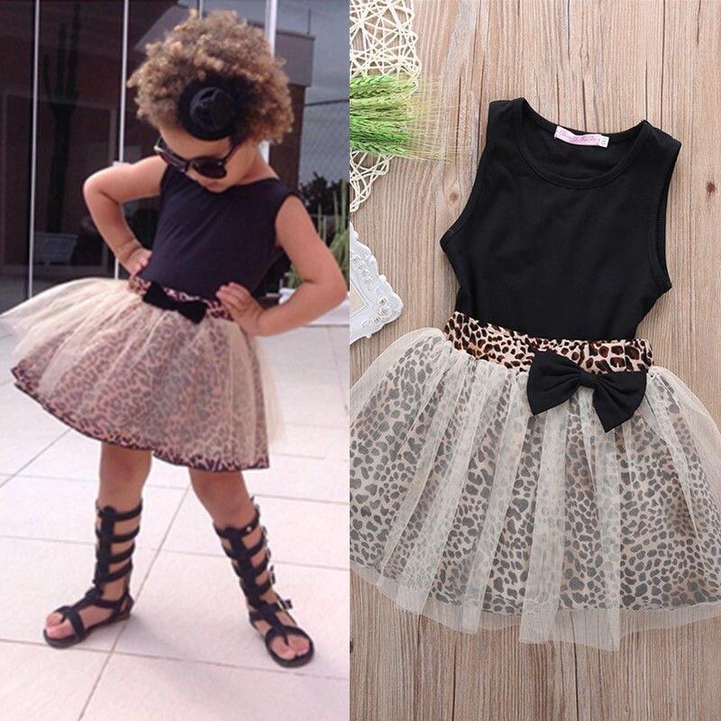Toddler Kids Baby Girls Summer Dress Children Clothing Set Suit Sleeveless Tops and Long Leopard Print Skirt Outfits
