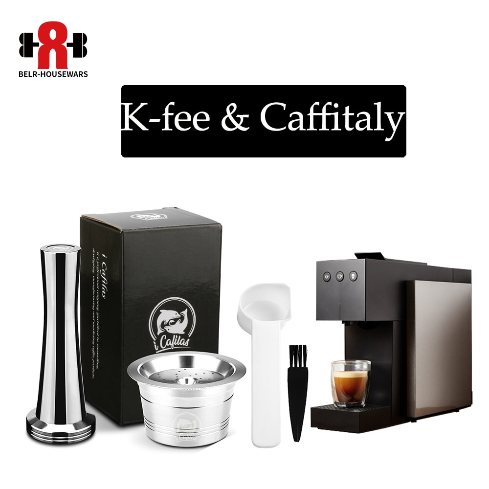 Cápsula de café de acero inoxidable ICafilas Reuable k-fee filtros para Tchibo Cafissimo ALDI Expressi, cuchara de café Marke Tamper