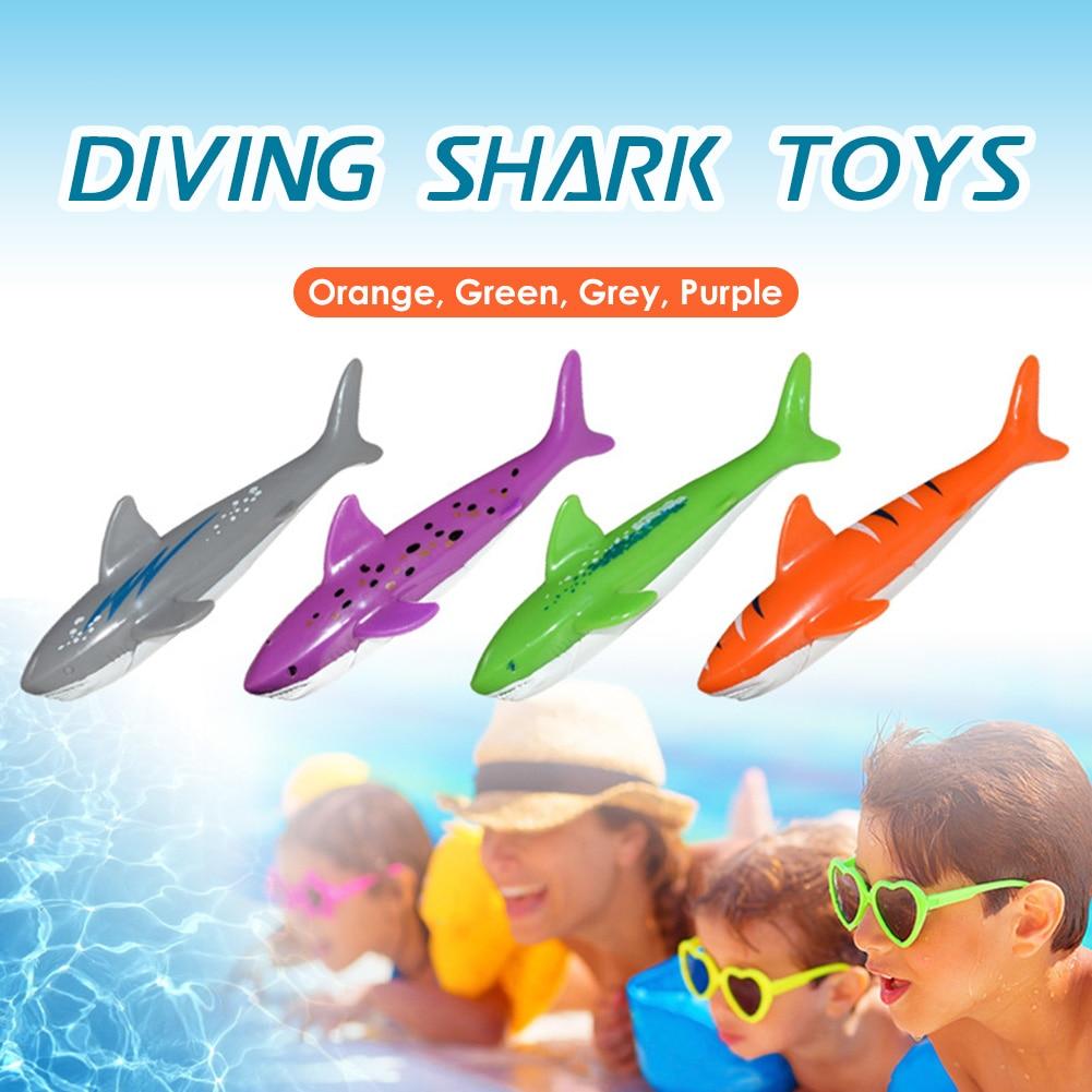 4 unids/set tiburón juguete para tirar agua juego de piscina niños submarinismo Stick juguete deportes regalo parental para chico