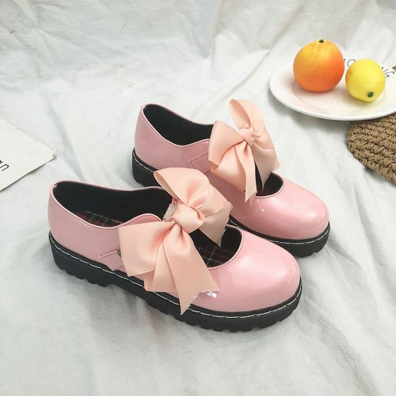 Negro zapatos de princesa zapatos de estudiante planos británicos princesa Bowknot chica Kawaii zapatos de mujer Vintage dulce zapatos Lolita Victoria porque