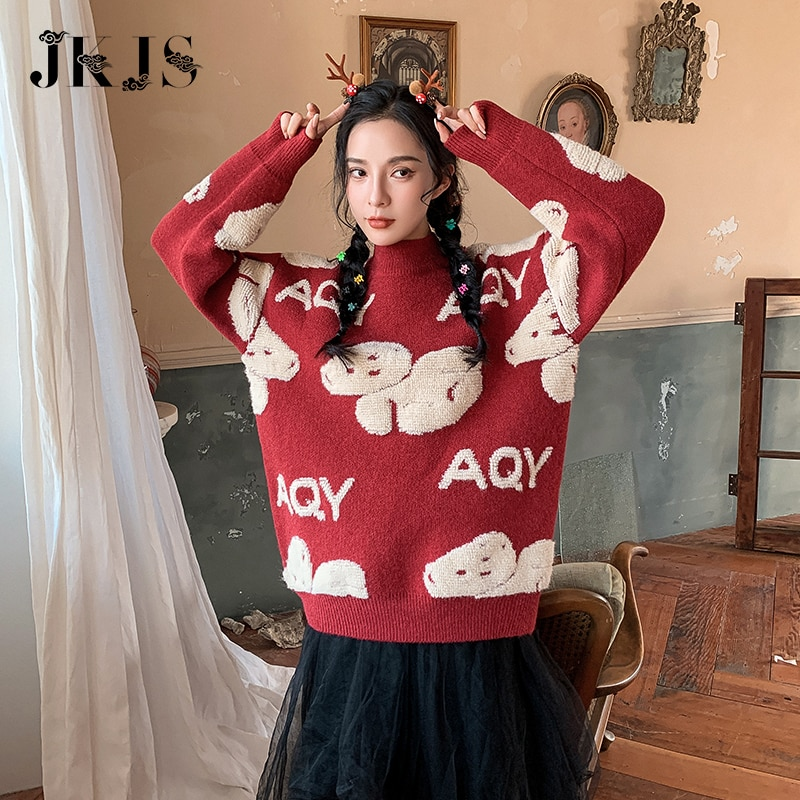 2020 new style knitwear women's foreign style, with sweater inside, lovely, sweet and loose, wearing autumn  winter bottom coat