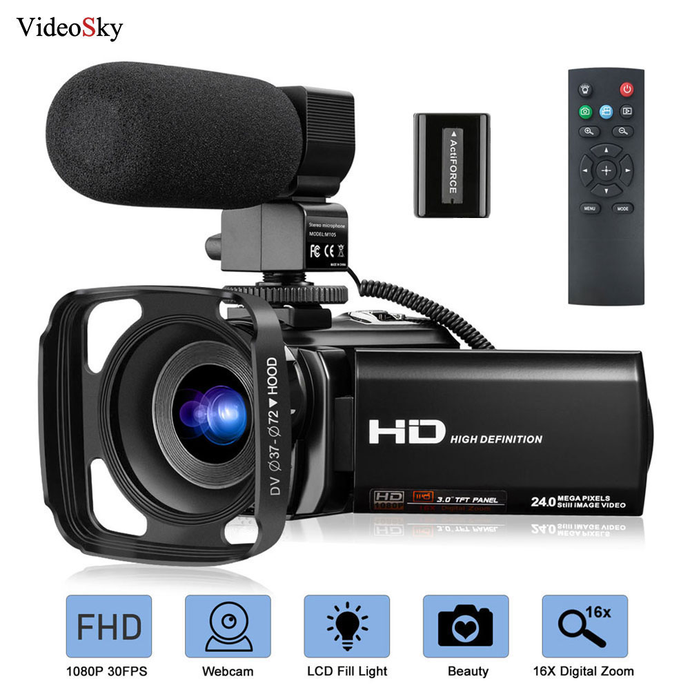 Video Camera Camcorder with Microphone FHD 1080P 30FPS 24MP Vlogging YouTube Cameras 16X Digital Zoo