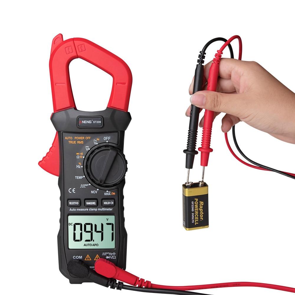 Multímetro ST209 6000 recuentos de valores eficaces auténticos, medidor de abrazadera DC/AC, multímetro de pinza Digital, medidor de voltímetro con pantalla LCD